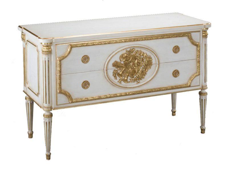 Cómoda estilo clásico Louis XVI blanca y oro mueble gama alta producción italiana